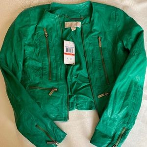 Green Micheal Kors Leather Jacket